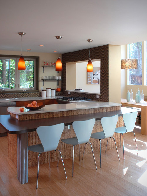 Inspiration For A Contemporary Eat In Kitchen Remodel Other With Brown Backsplash