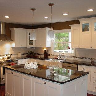 Inspiration för ett avskilt, stort vintage l-kök, med en rustik diskho, skåp i shakerstil, vita skåp, marmorbänkskiva, vitt stänkskydd, stänkskydd i tunnelbanekakel, rostfria vitvaror, mörkt trägolv, en köksö och rött golv
