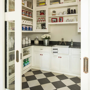 Photo of a transitional kitchen pantry in Minneapolis with a farmhouse sink and multi-coloured floor.