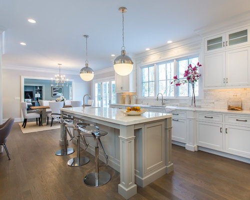 eat-in kitchen design in Montreal with shaker cabinets, white cabinets ...