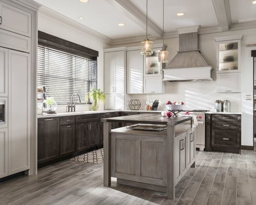 Large Rustic Kitchen Pantry Designs   Inspiration For A Large Rustic  L Shaped Dark Wood
