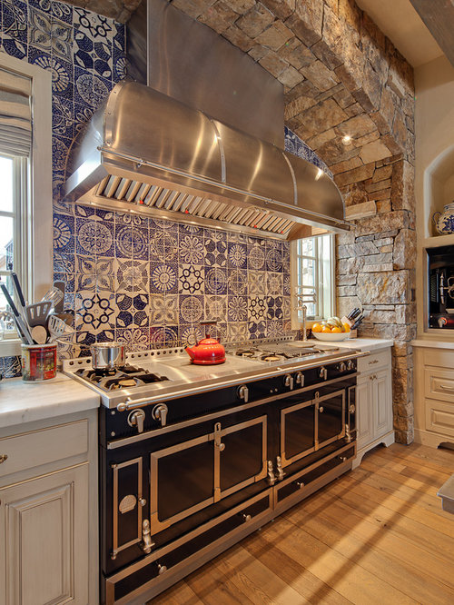 Rustic kitchen with blue backsplash design ideas & remodel ...