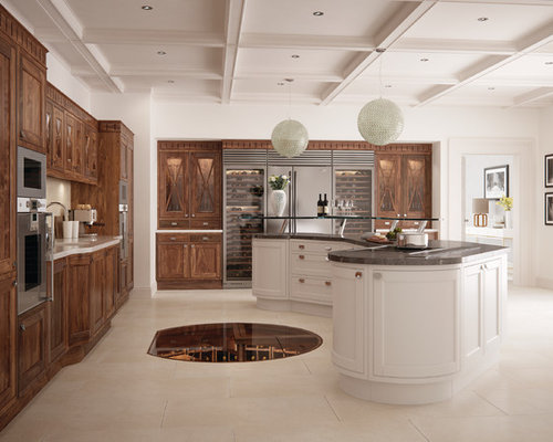 Example Of A Large Classic L Shaped Kitchen Design In Other With An  Undermount Sink