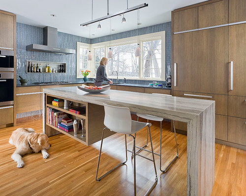 Example Of A Trendy Kitchen Design In Minneapolis With Blue Backsplash