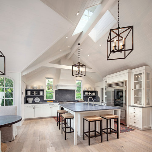 Mid Sized Transitional L Shaped Light Wood Floor Open Concept Kitchen Photo In Santa