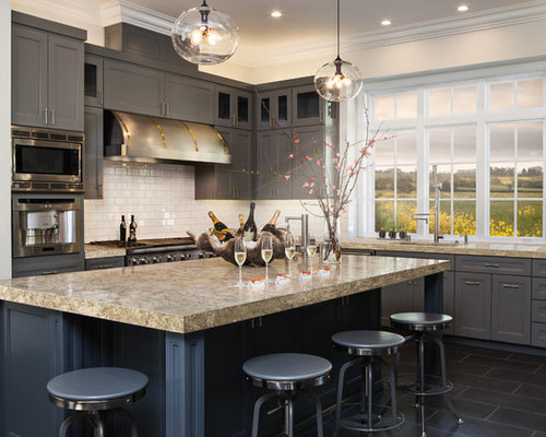 example of a transitional l shaped kitchen design in minneapolis with recessed panel cabinets - Charcoal Grey Kitchen Cabinets