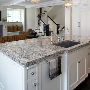 Inspiration for a large victorian separate kitchen in Other with an undermount sink, recessed-panel cabinets, white cabinets, quartz benchtops, dark hardwood floors and with island.