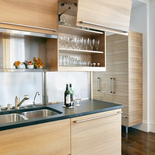 Trendy kitchen photo in Boston with a double-bowl sink, flat-panel cabinets and light wood cabinets