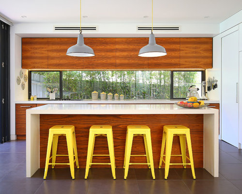 Contemporary Galley Kitchen In Sydney With Flat Panel Cabinets, Medium Wood  Cabinets, Window