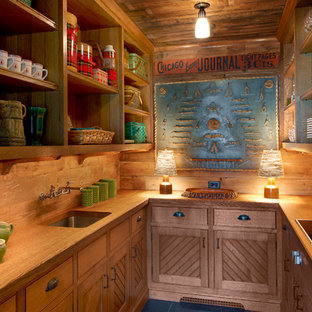 Small rustic kitchen remodeling - Small mountain style u-shaped kitchen photo in Chicago with an undermount sink, open cabinets, medium tone wood cabinets, wood countertops and no island