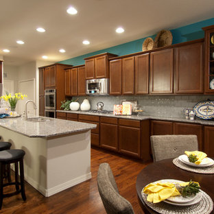 Elegant kitchen photo in Denver with granite countertops and stainless steel appliances
