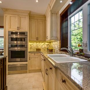 トロントの中サイズのヴィクトリアン調のおしゃれなキッチン (ドロップインシンク、落し込みパネル扉のキャビネット、ヴィンテージ仕上げキャビネット、御影石カウンター、マルチカラーのキッチンパネル、ボーダータイルのキッチンパネル、シルバーの調理設備の、セラミックタイルの床) の写真