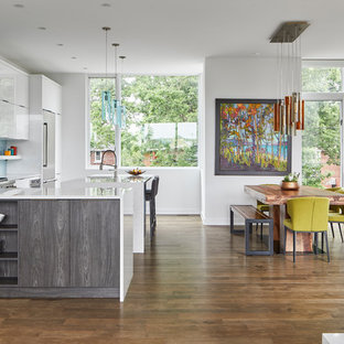 Large modern l-shaped open plan kitchen in Ottawa with an undermount sink, flat-panel cabinets, white cabinets, quartzite benchtops, blue splashback, glass sheet splashback, stainless steel appliances, medium hardwood floors, with island and green benchtop.