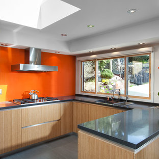 Photo of a mid-sized midcentury u-shaped eat-in kitchen in Vancouver with flat-panel cabinets, light wood cabinets, concrete benchtops, orange splashback, glass sheet splashback, stainless steel appliances, an undermount sink, ceramic floors, a peninsula and grey floor.