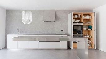 Cantilevered Kitchen Island in Grey Resin Kitchen