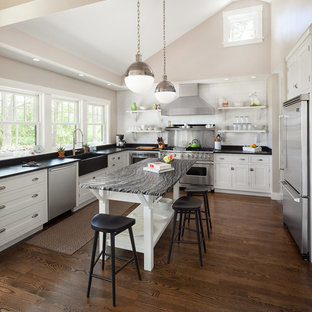 open kitchen designs with island. Example Of A Transitional U-shaped Kitchen Design In Portland Maine With  Farmhouse Sink Open Designs Island D