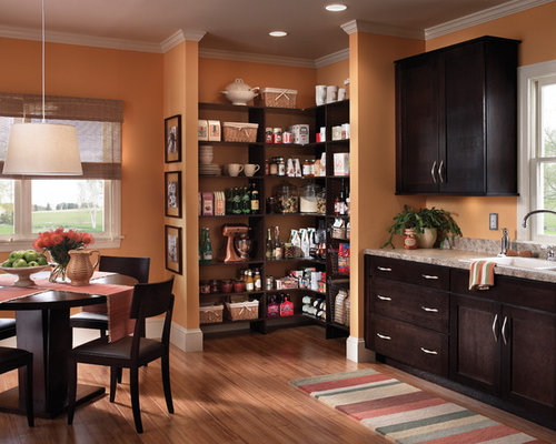 Example of a classic eat-in kitchen design in Other with open cabinets and  dark