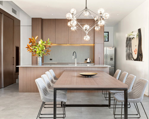 Photo Of A Contemporary Galley Eat In Kitchen In Melbourne With Flat Panel  Cabinets