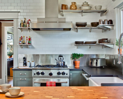 stainless steel range backsplash houzz. Black Bedroom Furniture Sets. Home Design Ideas