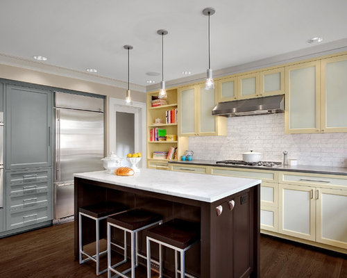 Two tone cabinets houzz - Jonquil yellow interior design ideas with surprising appeal ...