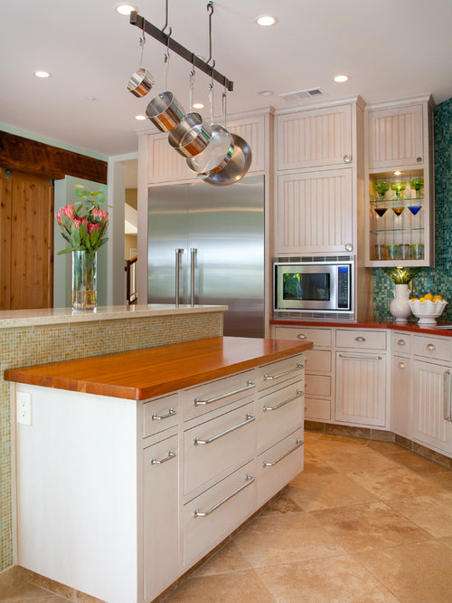 Houzz tropical kitchen with recycled glass countertops for Tropical kitchen decor