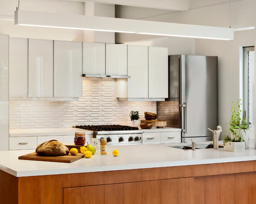 Midcentury Galley Kitchen Photo In San Francisco With Stainless Steel Appliances A Double Bowl