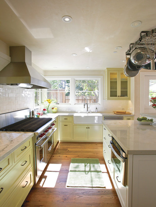 Example Of A Country Kitchen Design In Other With A Farmhouse Sink Shaker Cabinets