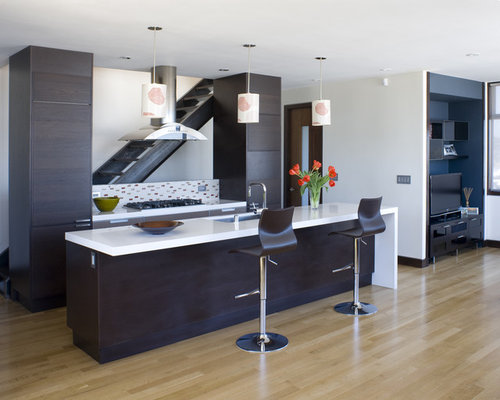 ... , flat-panel cabinets, dark wood cabinets and multicolored backsplash