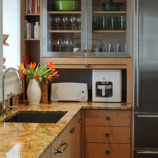 Contemporary kitchen ideas - Kitchen - contemporary kitchen idea in Boston with granite countertops and stainless steel appliances