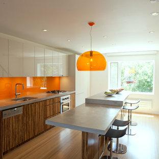 Contemporary kitchen appliance - Kitchen - contemporary kitchen idea in New York with flat-panel cabinets, orange backsplash, concrete countertops and glass sheet backsplash