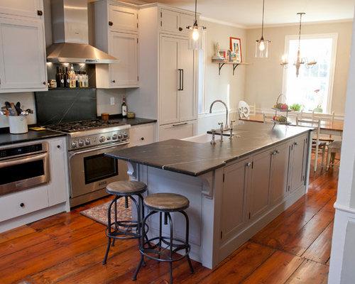 Inspiration For A Large Farmhouse Galley Medium Tone Wood Floor Eat In  Kitchen Remodel In
