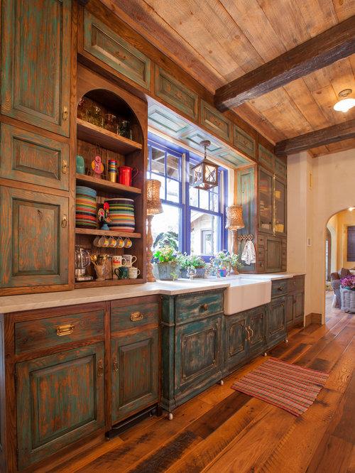 distressed milk paint kitchen cabinets houzz. Black Bedroom Furniture Sets. Home Design Ideas