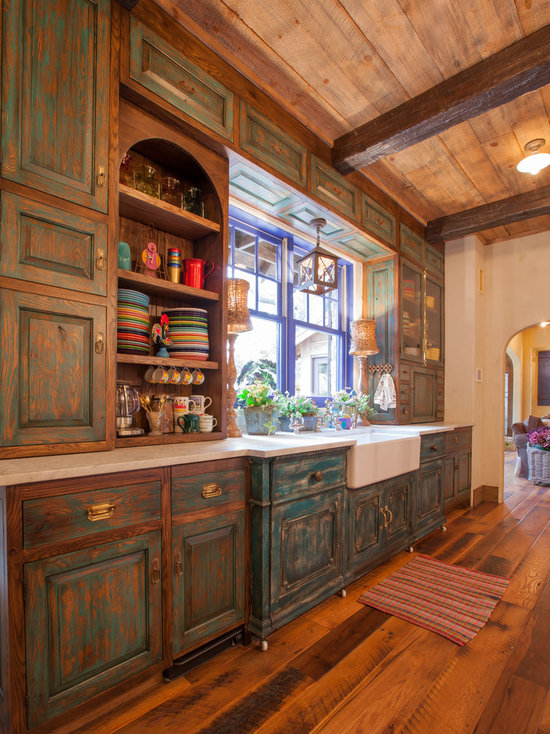 Rustic Painted Kitchen Cabinets distressed milk paint kitchen cabinets | houzz