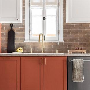Mediterranean kitchen inspiration - Kitchen - mediterranean cement tile floor kitchen idea in Los Angeles with orange cabinets and no island