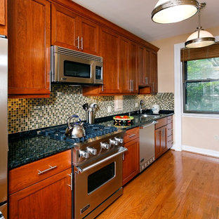 Design ideas for a contemporary single-wall kitchen in DC Metro with granite benchtops, stainless steel appliances, an undermount sink, recessed-panel cabinets, medium wood cabinets, green splashback, mosaic tile splashback and green benchtop.