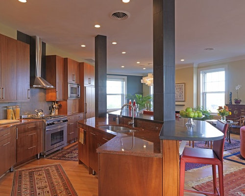 Transitional Open Concept Kitchen Idea In DC Metro With Paneled Appliances,  Granite Countertops, An
