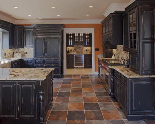 Distressed Black Kitchen Cabinets black distressed cabinets | houzz