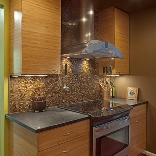 Contemporary kitchen in DC Metro with stainless steel appliances, flat-panel cabinets, medium wood cabinets, multi-coloured splashback and mosaic tile splashback.