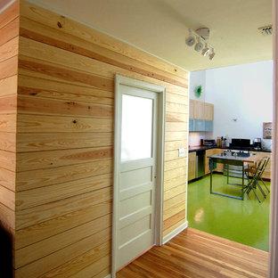 Moderne Wohnküche mit flächenbündigen Schrankfronten, hellen Holzschränken und grünem Boden in Austin