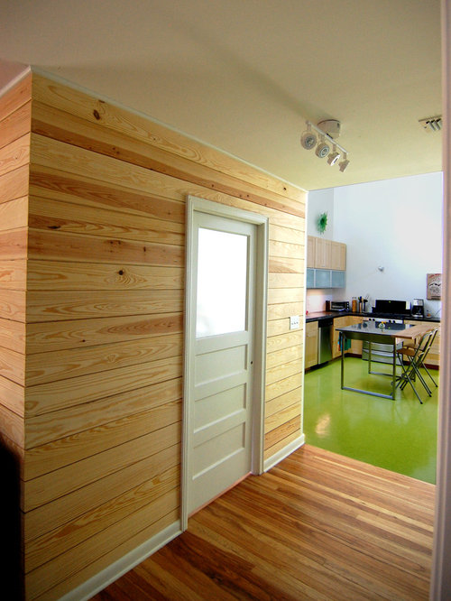 Inspiration for a contemporary eat-in kitchen remodel in Austin with flat- panel cabinets - Horizontal Wood Paneling Houzz