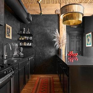 シカゴのエクレクティックスタイルのおしゃれなキッチン (アンダーカウンターシンク、シェーカースタイル扉のキャビネット、黒いキャビネット、シルバーの調理設備、無垢フローリング、茶色い床、黒いキッチンカウンター) の写真
