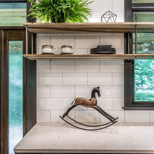 Large farmhouse kitchen pantry designs - Large country l-shaped cement tile floor and gray floor kitchen pantry photo in Manchester with an undermount sink, flat-panel cabinets, black cabinets, quartz countertops, white backsplash, porcelain backsplash, stainless steel appliances, an island and white countertops