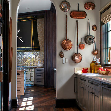 Catering Kitchen with Copper Pans and Antique Wood Flooring