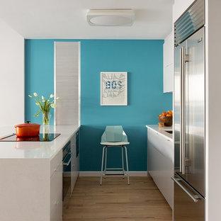 ボストンの中サイズのコンテンポラリースタイルのおしゃれなキッチン (アンダーカウンターシンク、フラットパネル扉のキャビネット、白いキャビネット、クオーツストーンカウンター、白いキッチンパネル、シルバーの調理設備の、淡色無垢フローリング) の写真