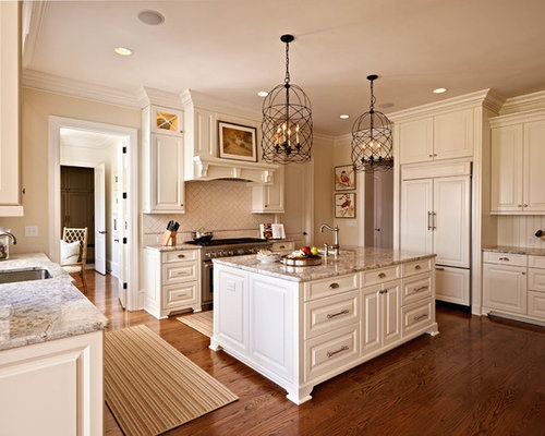 Antique white cabinets houzz for Charlotte kitchen cabinets
