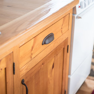 Cedar countertop and knotty pine cabinets