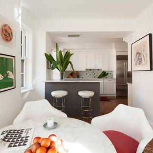 シカゴの中サイズのエクレクティックスタイルのおしゃれなキッチン (アンダーカウンターシンク、フラットパネル扉のキャビネット、大理石カウンター、マルチカラーのキッチンパネル、シルバーの調理設備、グレーのキッチンカウンター、白いキャビネット、セメントタイルのキッチンパネル、塗装フローリング、茶色い床) の写真
