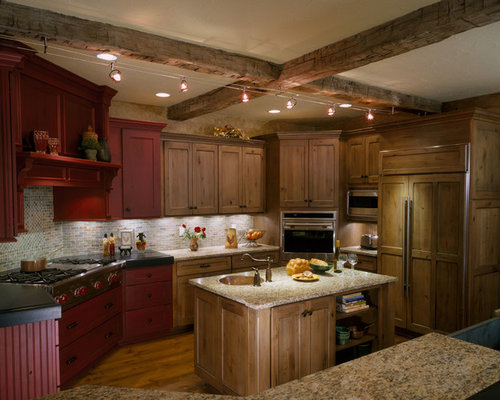 8 Foot Ceilings Kitchen With Red Cabinets Design Ideas