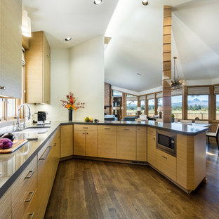 Design ideas for a large contemporary kitchen in Other with flat-panel cabinets, medium wood cabinets, engineered stone countertops, white splashback, ceramic splashback, a breakfast bar, a submerged sink and medium hardwood flooring.