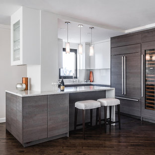 Kitchen Mid Sized Contemporary L Shaped Dark Wood Floor And Brown